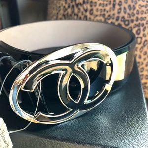 CHANEL black belt w/ silver/black CC buckle NWT